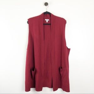 Croft & Barrow Cardigan Vest Red Pockets Size 3X